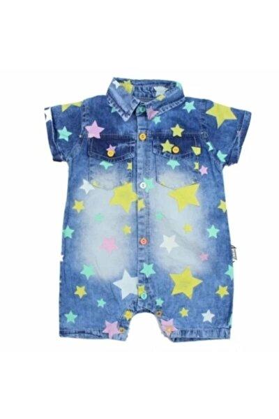 Kız Bebek Mavi Yıldızlı Kot Tulum
