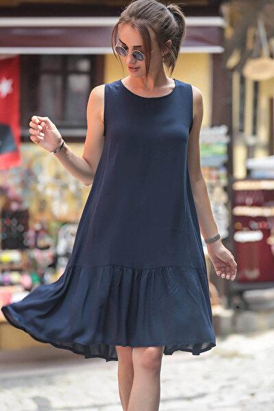 Kadın Lacivert Kolsuz Eteği Fırfırlı Elbise ARM-18Y001156