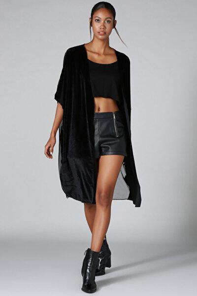 Kadın Siyah Kadife Tül Hırka HK2105