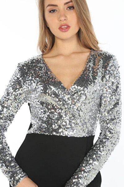 Kadın Lame   Payet İşlemeli Elbise  Hn346