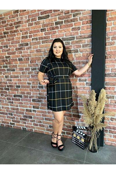 Kadın Büyük Beden Siyah Elbise - 2029
