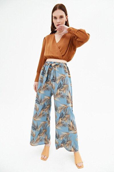 Kadın Desenli Geniş Paça Dokuma Pantolon P21s169-1233