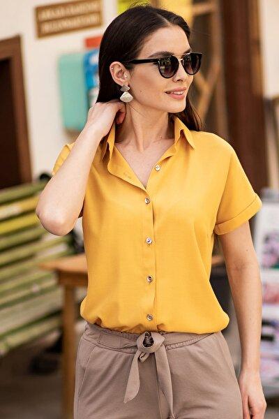 Kadın Hardal Kısa Kol Gömlek ARM-19Y001065