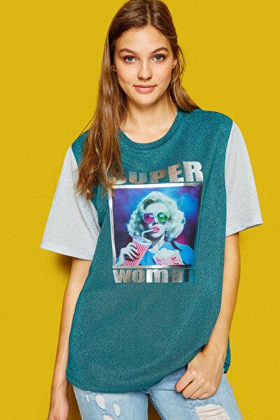 Kadın Yeşil T-Shirt 8KAL11429JK