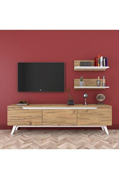 Rani D1 Duvar Raflı Kitaplıklı Tv Ünitesi Ahşap Ayaklı Tv Sehpası Ceviz Beyaz M48