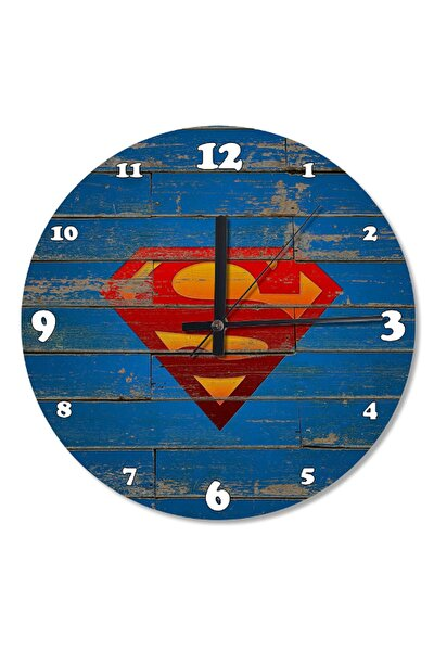 50 Cm Çap Eski Ahşap Zeminde Süpermen Ahşap Duvar Saati