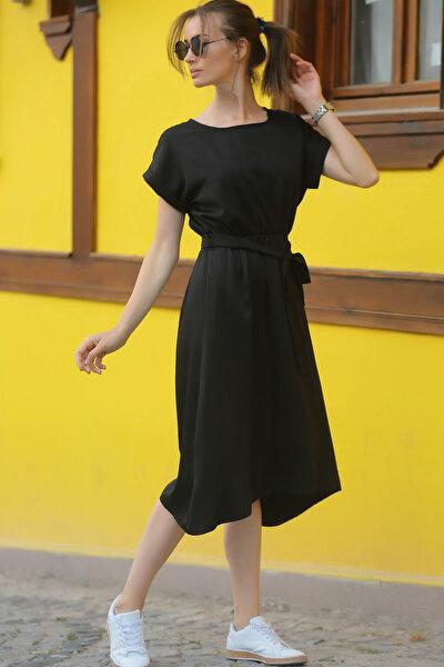 Kadın Siyah Beli Lastikli Bağlamalı Elbise ARM-18Y001133