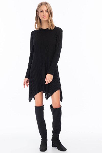 Kadın Siyah Kalın Fitilli Uzun Kol Çan Tunik Elbise 8411104