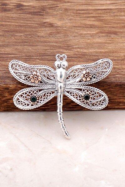 Telkari İşlemeli Yusufçuk Tasarım Gümüş Broş 310