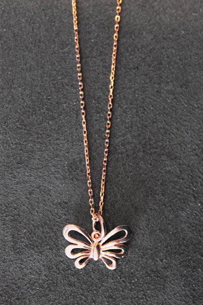 Kadın Kelebek Rose Gümüş Kolye TGK0300