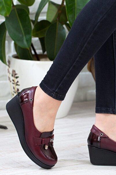 Hakiki Deri Bordo Kadın Dolgu Topuklu Ayakkabı 3046