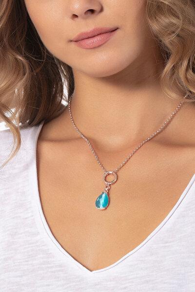 Kadın Mavi Damla Taşlı Rose Zincir Kolye K8204