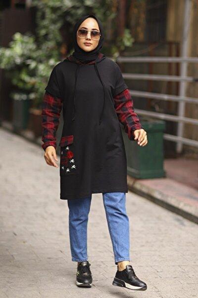 Kadın Bordo Ekose Garnili Kapüşonlu Tunik