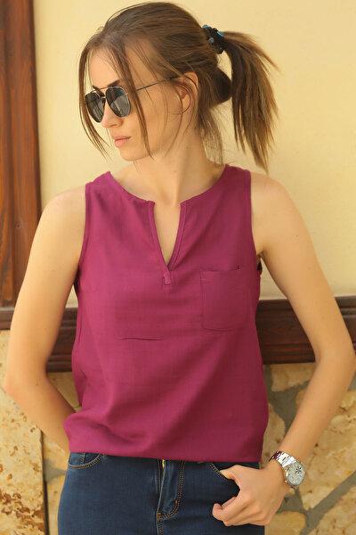 Kadın Mürdüm Yakası Açık Cepli Kolsuz Bluz ARM-18Y003014