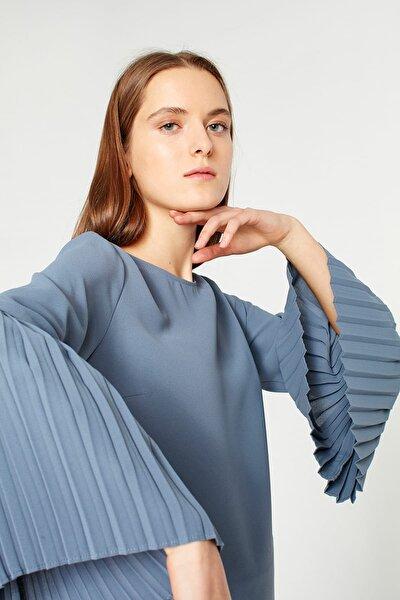 Kadın Indıgo Kolları Pliseli Bluz 18KGMZL1012014