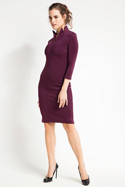 Kadın Mürdüm Yaka Detaylı Kalem Elbise 15L4548