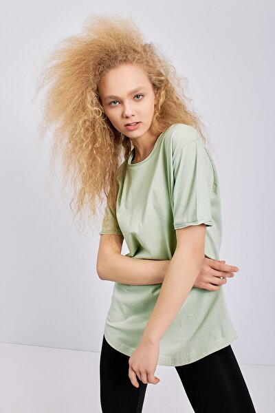 Kadın Su Yeşili Salaş Rahat Kesim Basic T-shirt