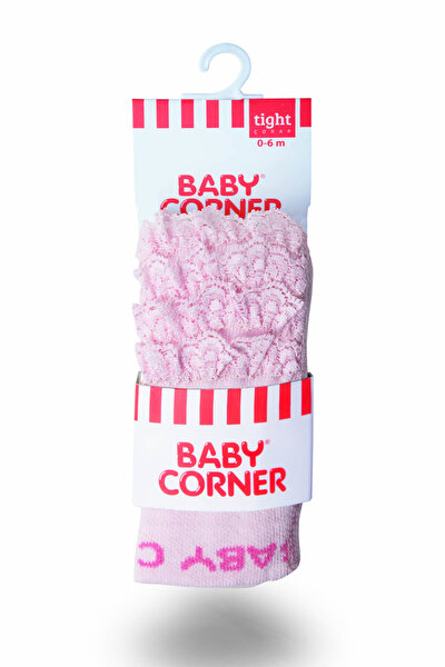 Kız Bebek Dantelli Külotlu Çorap Pembe 815