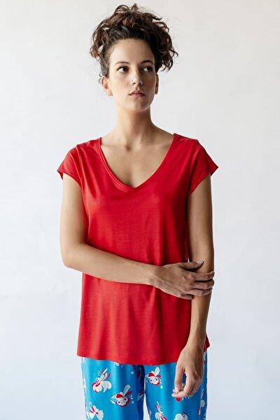 Kadın Koral V Yaka Tencel Pijama Üstü