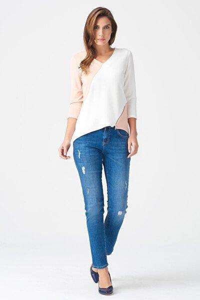 Kadın Pudra-Beyaz Bluz 17K11118Y873