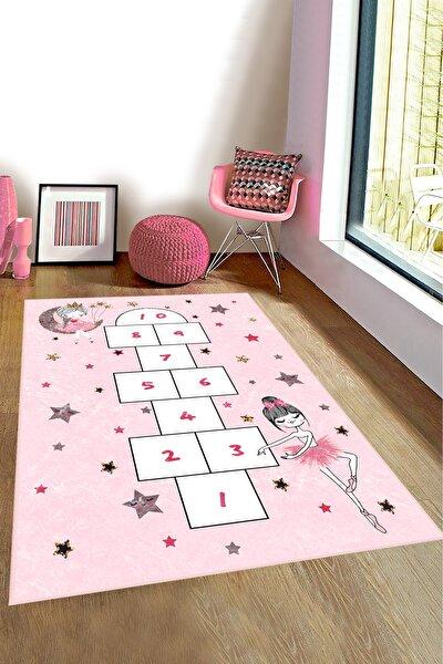 Pembe Seksekli Çocuk Odası Oyun Halısı Bi130