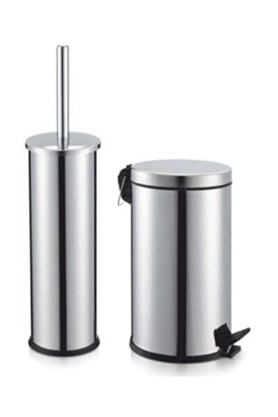 Paslanmaz Klozet Fırçası Paslanmaz Çöp Kovası Krom 3 lt Set