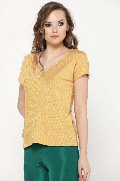 Kadın Hardal Verev Çizgili T-shirt