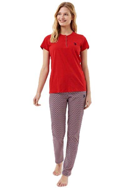 %100 Pamuk Düğmeli Bisiklet Yaka Kırmızı Kadın Pijama Takım