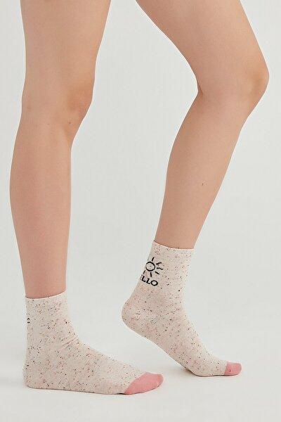 Kadın Gri Hello Sun Soket Çorap