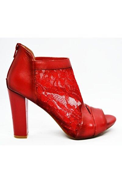 Kadın Kırmızı Yüksek Ökçeli Dantelli Sandalet
