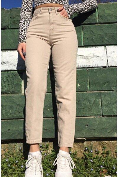 Kadın Bej Yüksek Bel Mom Jeans Kot Pantolon