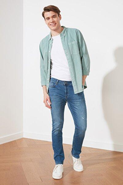 Indigo Erkek Yırtık Detaylı Normal Bel Skinny Fit Jeans TMNSS21JE0291