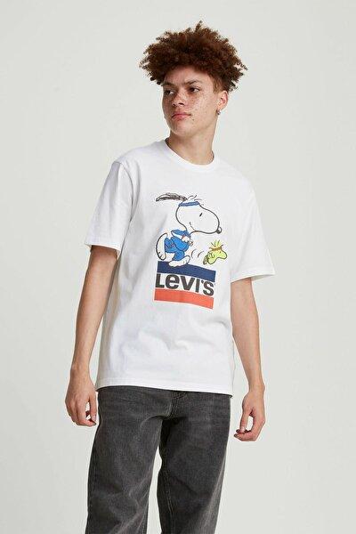 Erkek Beyaz Relaxed Fit T-Shirt 16143-0080