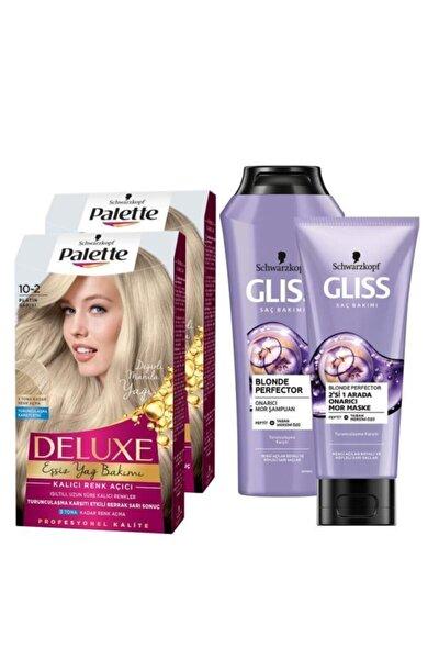 10-2 Platin Sarısıx2 Adet+blonde Perfector Mor Şampuan 250ml + Blonde Perfector Mor Maske 200ml