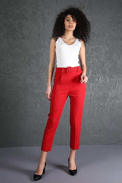 Özel Kumaş Beli Kemerli Havuç Pantolon Kırmızı
