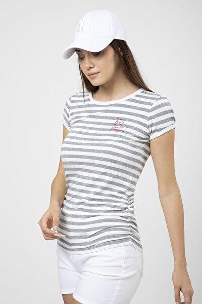 Kadın Gri Yanı Büzgülü Çizgili Basic T-Shirt