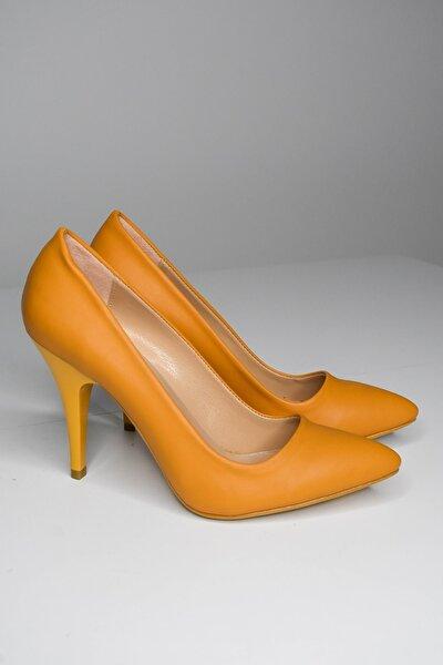 Kadın Hardal Rengi Stiletto Abiye Ayakkabı