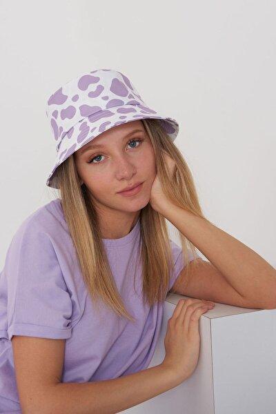 Kadın Lila Beyaz Şapka Şpk1045 - E1 Adx-0000023856