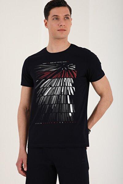 Erkek Lacivert Eskitme Desen Baskılı O Yaka T-Shirt - 87959