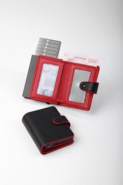 Gerçek Deri Mekanizmalı Siyah-kırmızı Kartlık-cüzdan