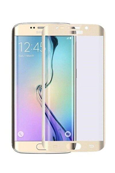 Samsung Galaxy S7 Edge Kavisli 5D Kırılmaz Cam Gold