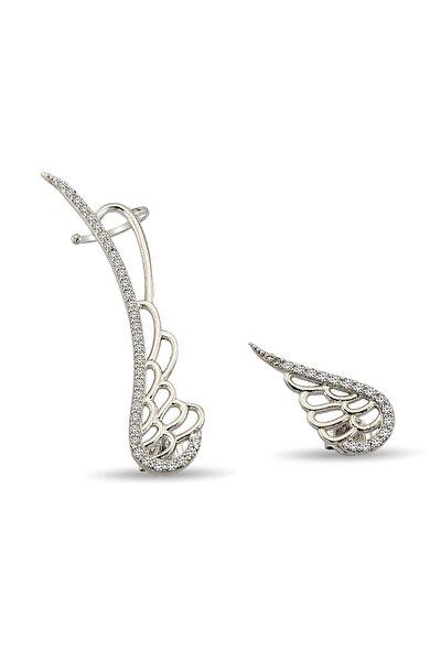 Kadın 925 Ayar Gümüş Melek Kanadı Motifli Gümüş Küpe K013601