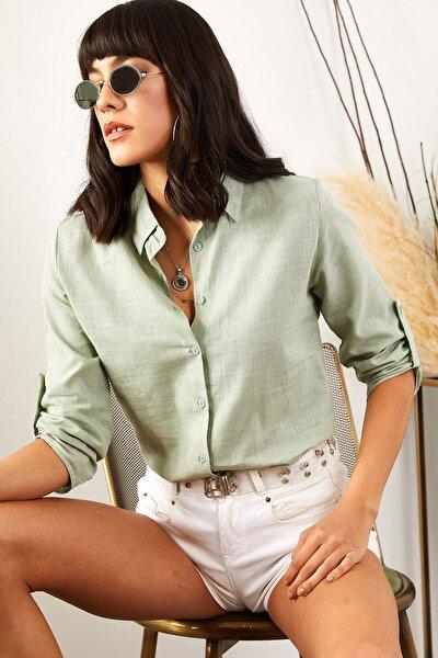 Kadın Mint Yeşili Kol Katlamalı Keten Gömlek