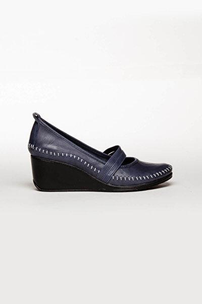 Hakiki Deri Lacivert Kadın Dolgu Topuklu Deri Ayakkabı Ars-0135