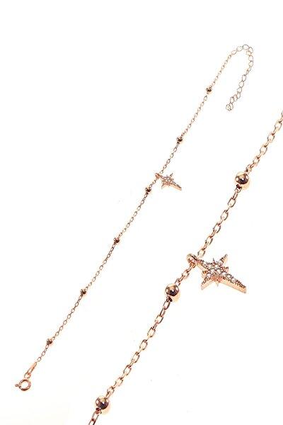 Kadın Gümüş Kutup Yıldızı Ve Toplu Zincir Bileklik SGTL8852