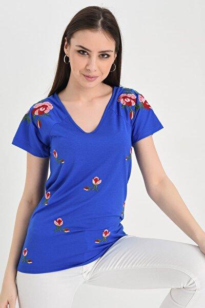 Kadın Mavi V Yaka Kısa Kollu Çiçekli Tshırt Hn699