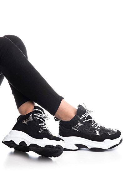 Bayan Spor Ayakkabı Siyah Beyaz Cilt Bls