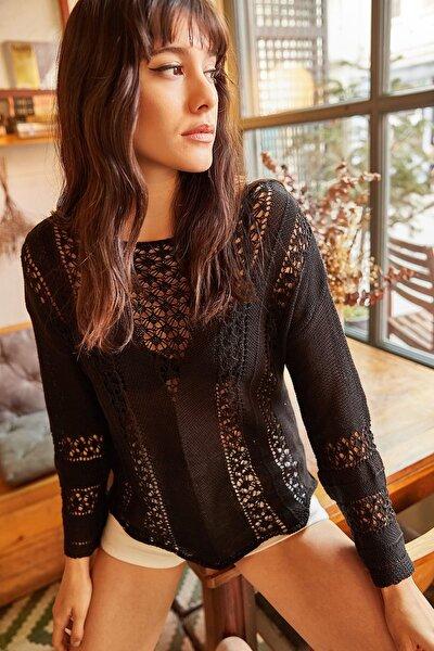 Kadın Siyah Ajurlu Merserize Pamuk Triko Bluz BLZ-19000282