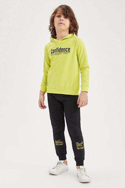 Erkek Çocuk Yazı Baskılı Sweatshirt ve Jogger Eşofman Alt Takım