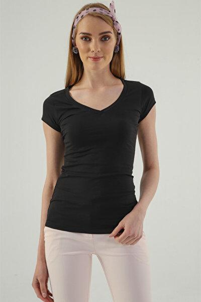 Kadın Siyah Monalisa V Yaka Kısa Kol T-Shirt 5611